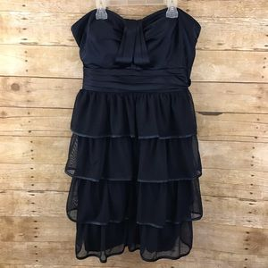 Torrid Navy Strapless Ruffled Formal Dress